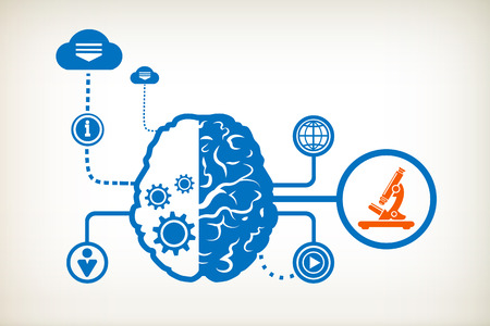 Microscope and abstract human brain, the concept of the information movement Illustration