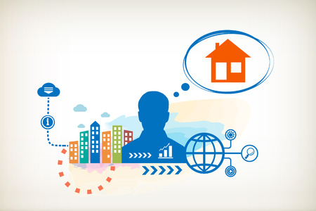 House and person with bubbles for dialogue. Think and decide. Vector