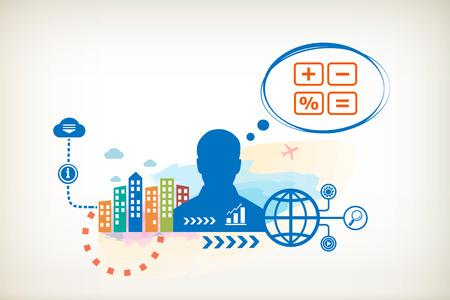 Rekenmachine en persoon met bubbels voor een dialoog. Denken en beslissen. Stockfoto - 30220821