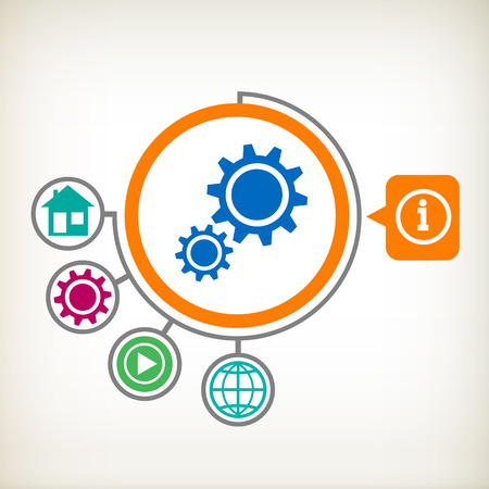 Cogwheel on abstract . Flat design for the web, print, banner, advertising. Vector