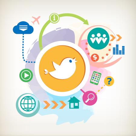 Social media en cloud op abstracte kleurrijke aquarel achtergrond. Korte berichten twitter retweet symbool voor de reclame, print, banner. Stockfoto - 31288428