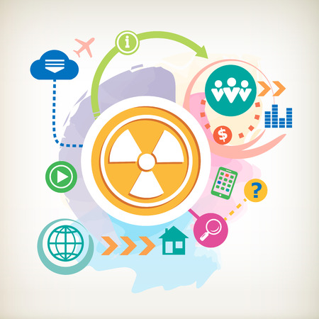 dangerous work: Radiation and cloud on abstract colorful watercolor background with different icon and elements.  Illustration