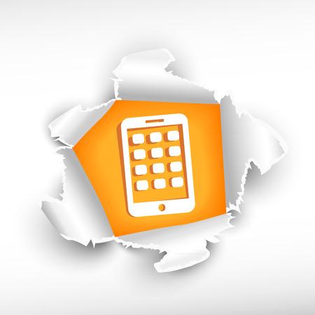 roztrhaný: Mobilní telefon a průlom papíru díry se zbarvily s prostorem pro vaši zprávu. Ilustrace