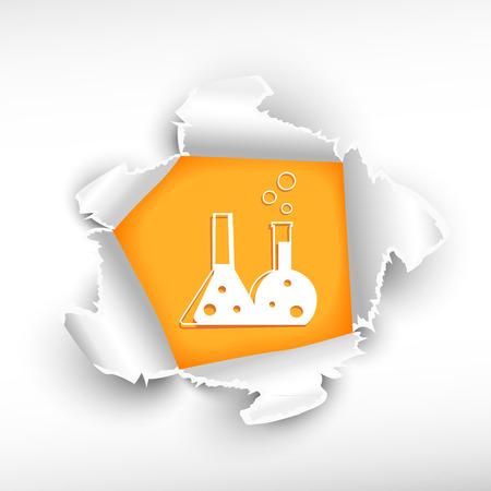 roztrhaný: Laboratorní baňky a průlom papíru díry se zbarvily s prostorem pro vaši zprávu. Ilustrace