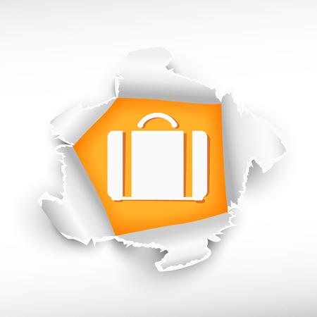 roztrhaný: Kufr a průlom papíru díry se zbarvily s prostorem pro vaši zprávu. Ilustrace