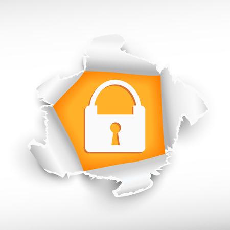 roztrhaný: Lock a průlom papír hole s pravděpodobnou hranami s prostorem pro vaši zprávu. Ilustrace
