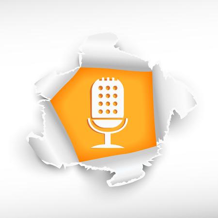 roztrhaný: Mikrofon a průlom papír hole s pravděpodobnou hranami s prostorem pro vaši zprávu. Ilustrace