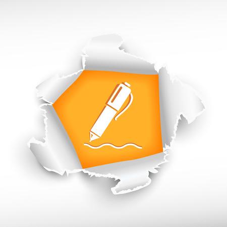 roztrhaný: Tužka a papír hole průlom se zbarvily s prostorem pro vaši zprávu.