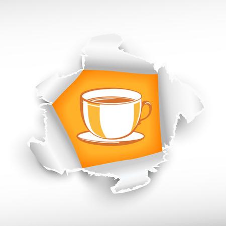 roztrhaný: Cup a průlom papíru díry se zbarvily s prostorem pro vaši zprávu.