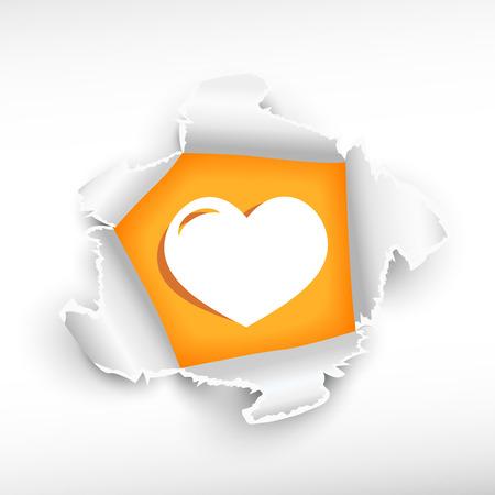 roztrhaný: Srdce a průlom papíru díry se zbarvily s prostorem pro vaši zprávu.
