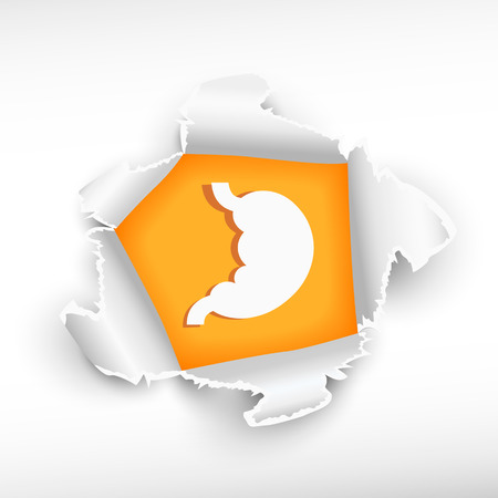 Human stomach symbol and breakthrough paper hole with ragged edges with a space for your message. Vector