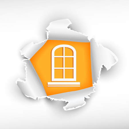 Closed window and breakthrough paper hole with ragged edges with a space for your message. Vector
