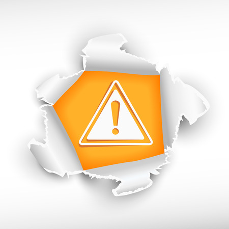 Danger warning and breakthrough paper hole with ragged edges    Vector
