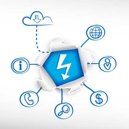Lightning and sketch diagrams. Doodle vector illustration. Breakthrough paper hole. Vector