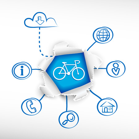 Cycling and sketch diagrams. Doodle vector illustration. Breakthrough paper hole. Illustration