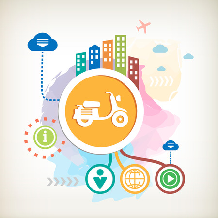 Scooter and city on abstract colorful watercolor background with different icon and elements. Design for the print, advertising, banner. Vector