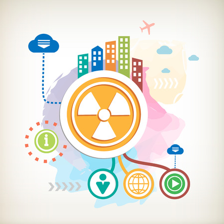 Radiation sign and city on abstract colorful watercolor background with different icon and elements. Flat design for the print, banner, web, advertising. Illustration