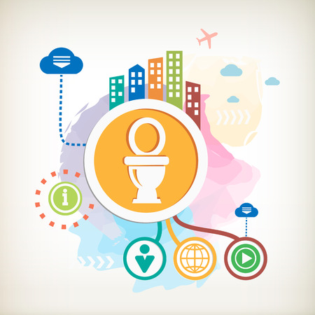 Toilet symbol and city mark on abstract colorful watercolor background with different icon and elements. Illustration