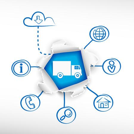 cargo van: Delivery truck sign icon. Cargo van symbol and sketch diagrams. Doodle vector illustration. Breakthrough paper hole.