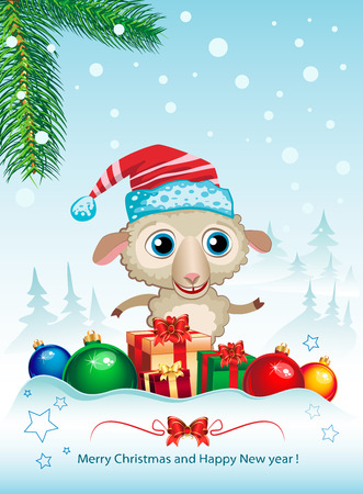 suggestive: Cute sheep and Merry Christmas elegant suggestive background for greetings card.