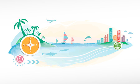 miami south beach: Compass on travel background.  Illustration