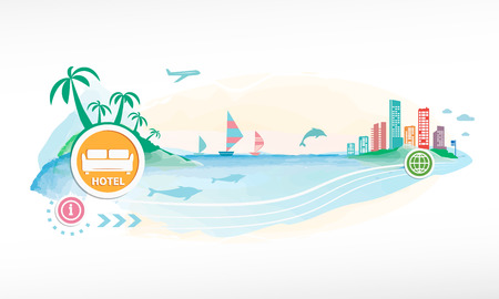 Hotel single icon on travel background.  Vector