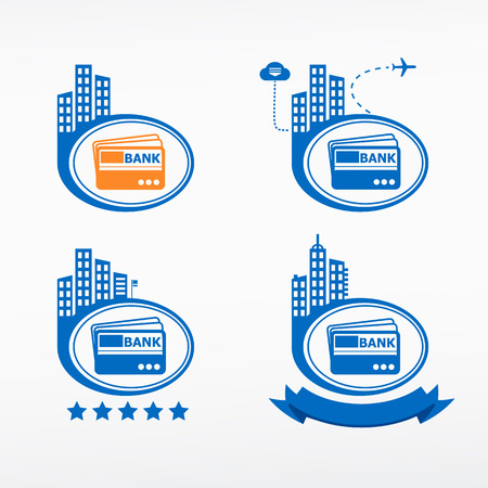 commercial activity: Credit card icon on city background. Cityscape illustration set. Illustration