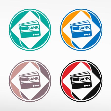visa credit card: Credit card, vector set, color round icon