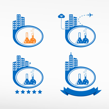 Flask with chemical reagent on city background. Cityscape illustration set. Vector