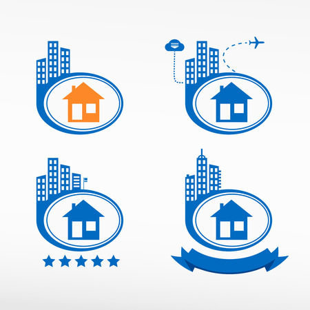 realstate: Illustration of home icons, house silhouettes on city background. Cityscape illustration set.