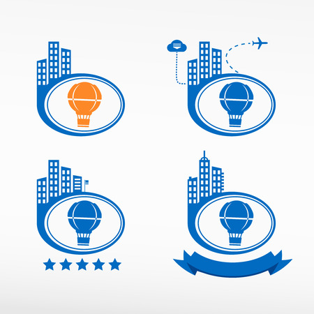 tape marker: Air Balloon icon on city background. Cityscape illustration set. Illustration