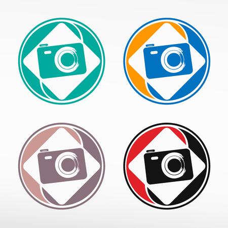 Camera Icon - round color set. Web icon element. Vector