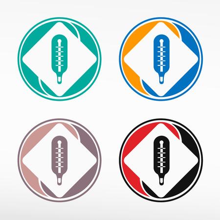 Thermometer indicates icon - round color set. Web icon element.