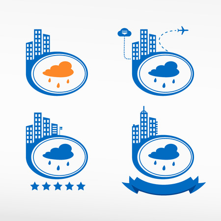 cloudburst: Rain cloud icon city background. Cityscape illustration set.