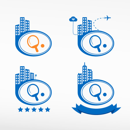 ping pong: Ping pong icono paleta fondo de la ciudad. Paisaje urbano conjunto ilustraci�n.