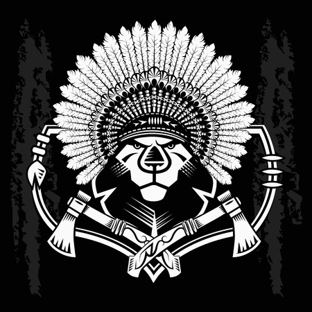 Lion Head Graphic on black background and native american tomahawk