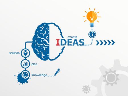 아이디어 - 혁신의 개념, 크리 에이 티브 전구 아이디어 추상적 인 인포 그래픽 워크 플로우 레이아웃, 다이어그램, 옵션을 단계 일러스트