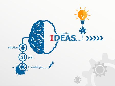 idea: Ideas - innovation concept, Creative light bulb idea abstract infographic workflow layout, diagram, step up options Illustration