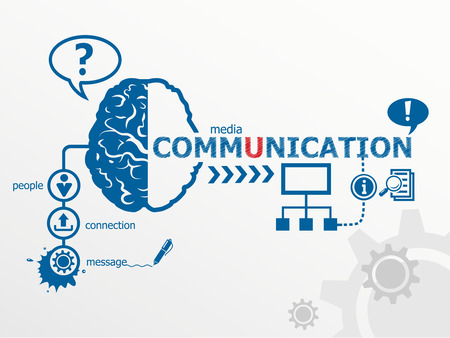 communicate: Communication concept and social media art. Worldwide communication Illustration