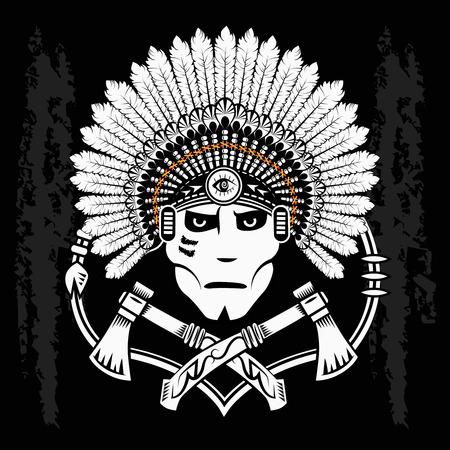 guerriero indiano: Nord America e capo indiano. Guerriero indiano