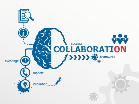Collaboration concept. Communication in the global computer networks Иллюстрация