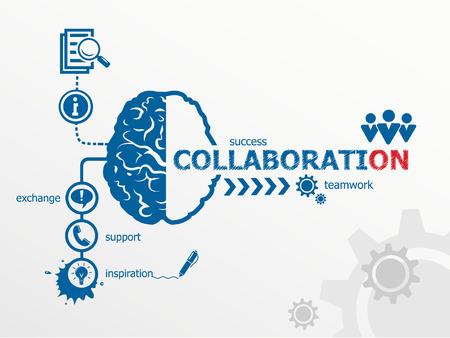 Collaboration concept. Communication in the global computer networks Ilustração
