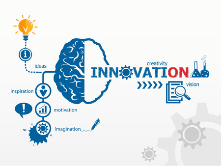Innovation concept. Creative idea abstract infographic Çizim