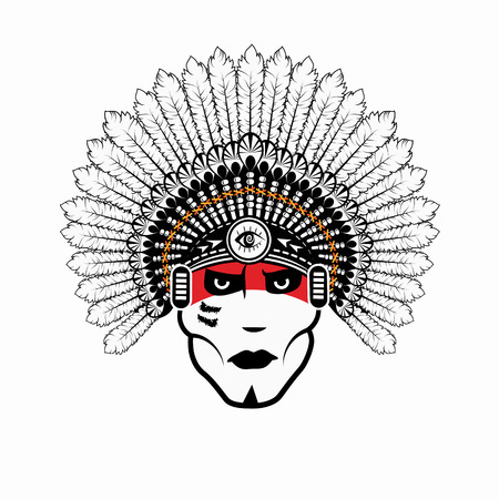 indian chief: North American Indian chief - vector illustration Illustration