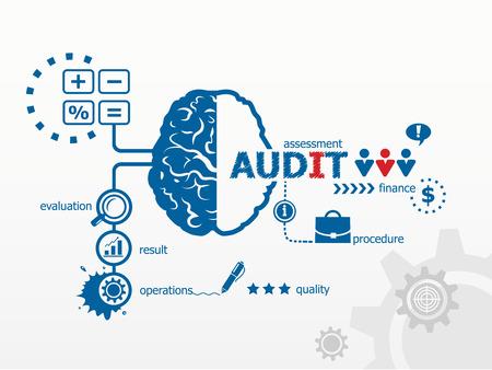 Audit - het analyseren van de financiële balans van een bedrijf. Verschillende mogelijke uitkomsten van het uitvoeren van een audit Stockfoto - 35704041