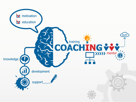 Coaching concept. Training concept illustration design over a notepad Çizim