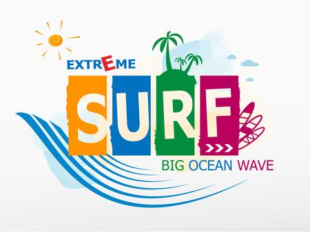 Surf Rider text design. Summer surfing Vector