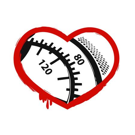sphygmomanometer: Heart on a white background, vector illustration