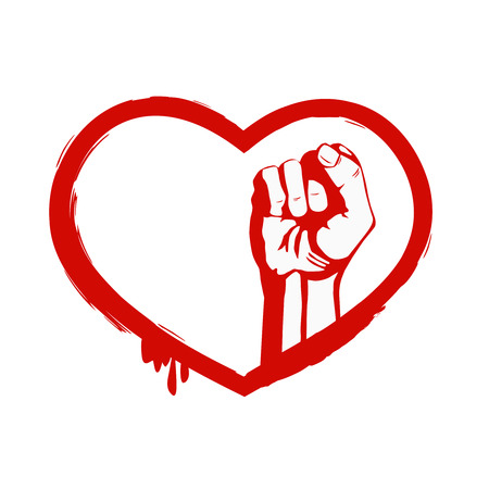 boycott: Red heart and fist. The grunge design element Illustration