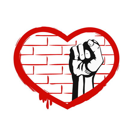 boycott: Red heart and fist on brick wall. The grunge design element